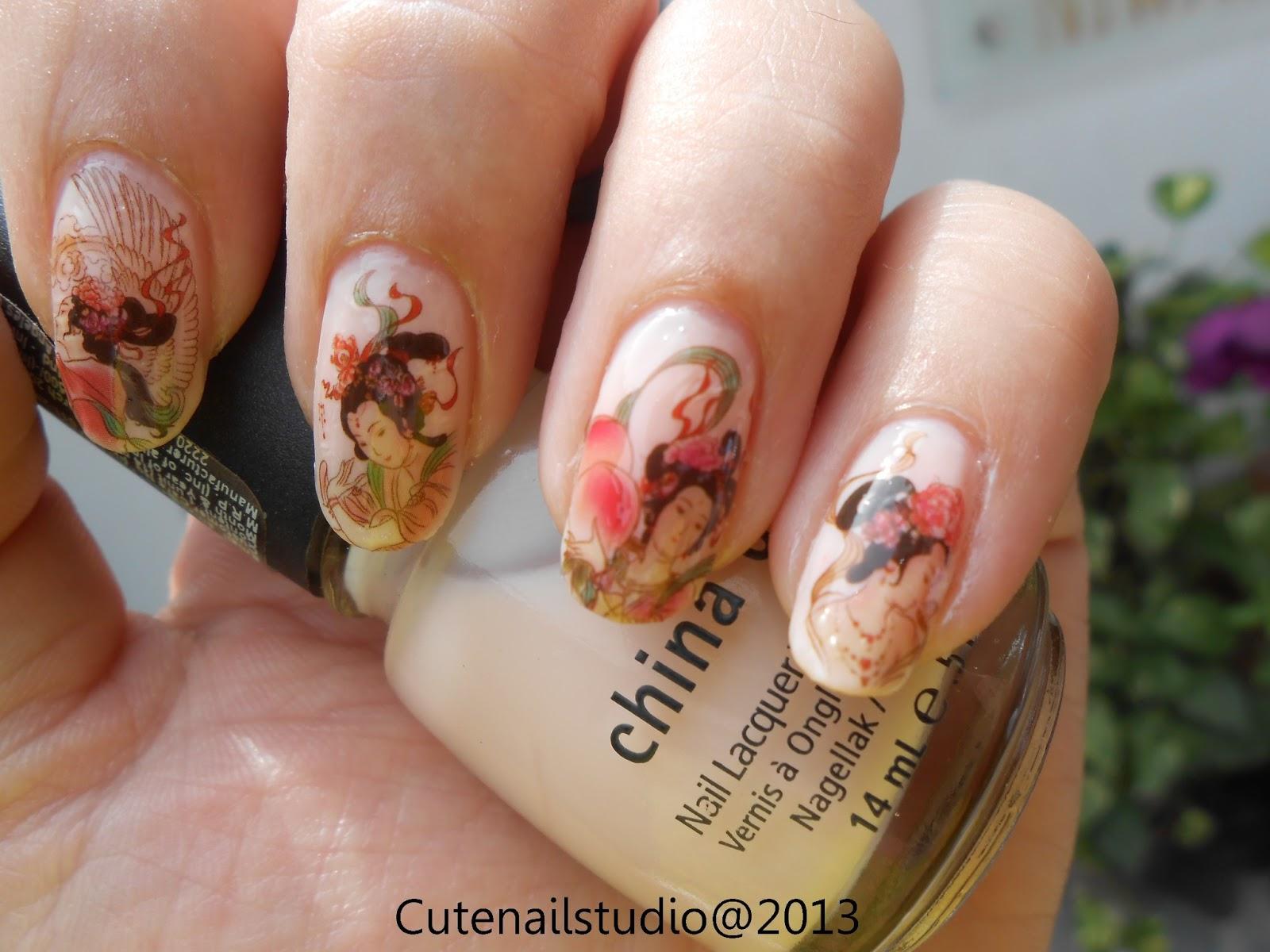 Cute nails: Geisha water decals nails