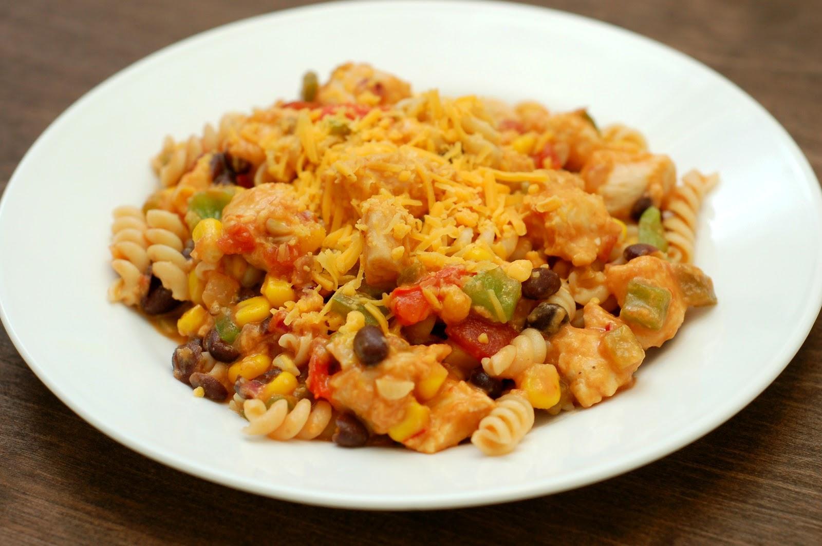 Cheesy Salsa and Chicken Pasta Skillet - A Kitchen Addiction