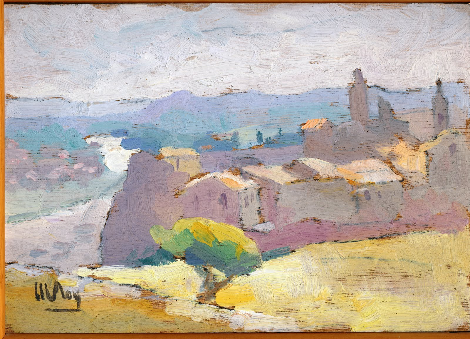 AIGUEZE VU DE LA GARRIGUE AQUARELLE DE Marcel ROY Collection privée de Claude MEUNIER