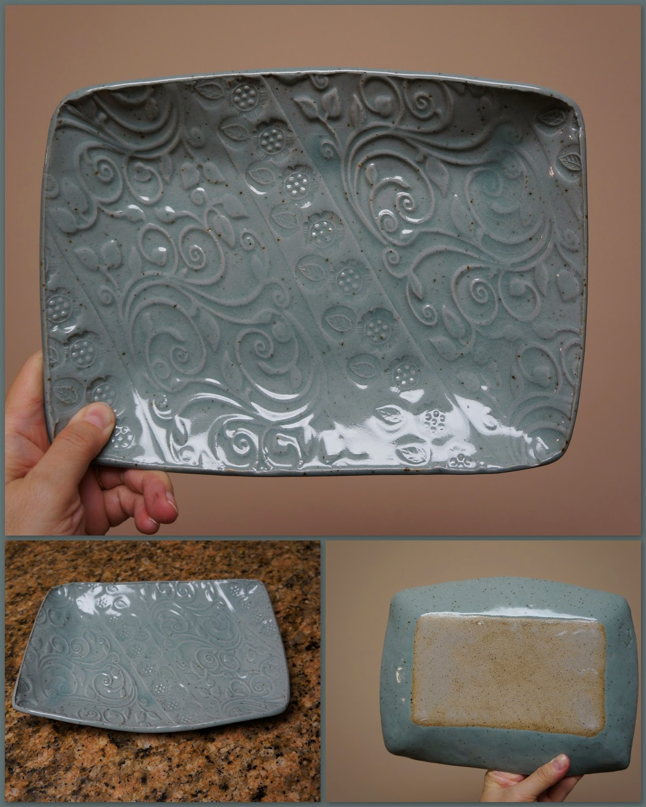 Unique handmade nature inspired ceramic stoneware pottery leaf plate / platter glazed in celadon