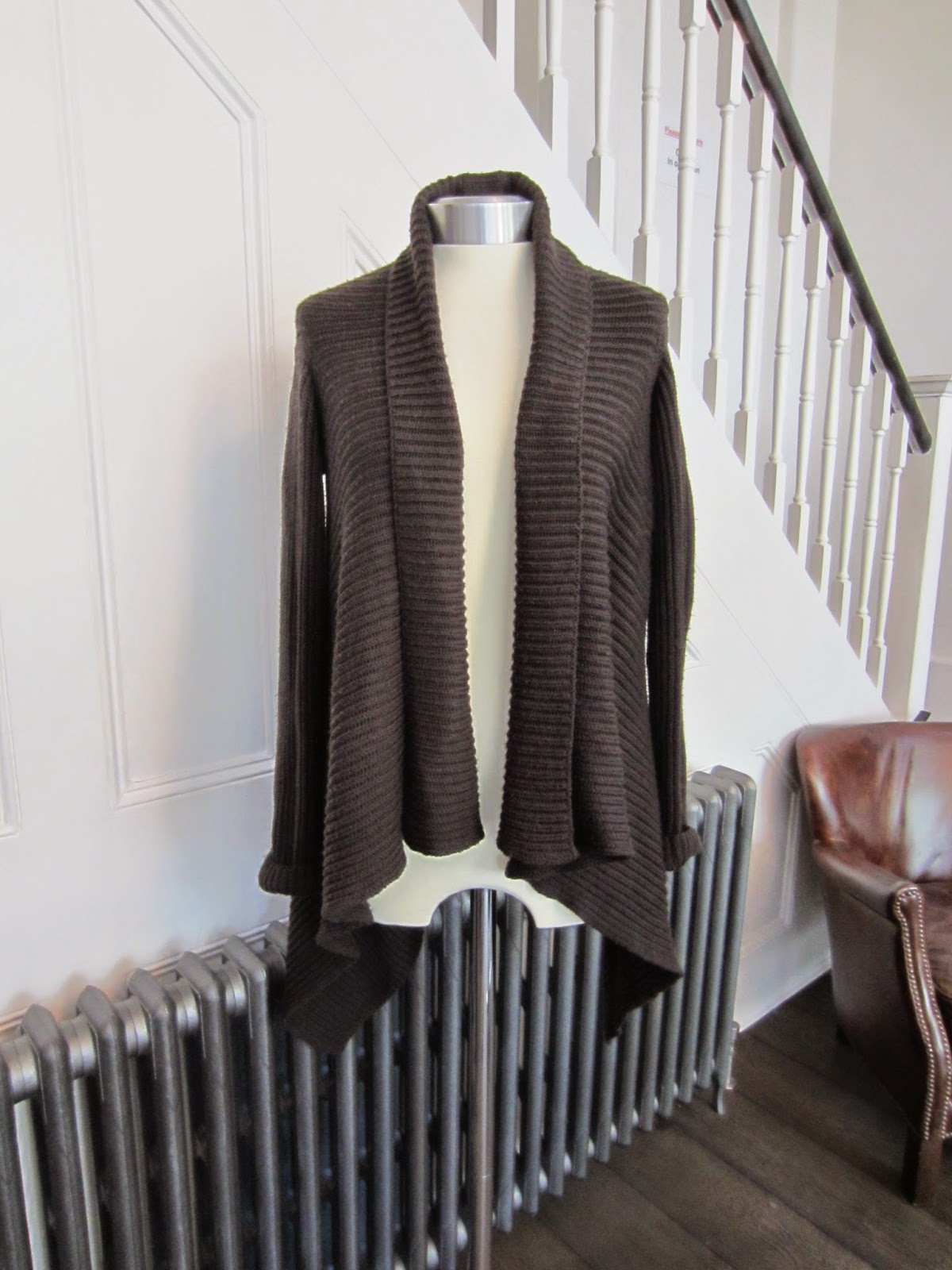 Rick Owens Chocolate Brown Merino Wool Cardigan