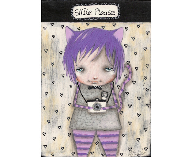 Alice in wonderland Cheshire cat original painting by Micki Wilde