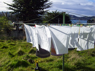 Cotton flat nappies on the washing line