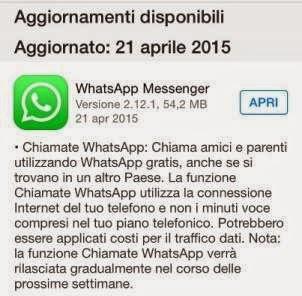 chiamate whatsapp su iOS