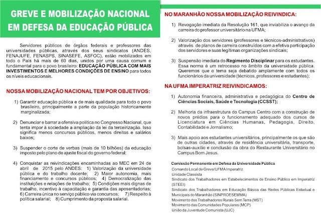 PANFLETO INFORMATIVO SOBRE A GREVE DA UFMA(clique na imagem para ampliar)