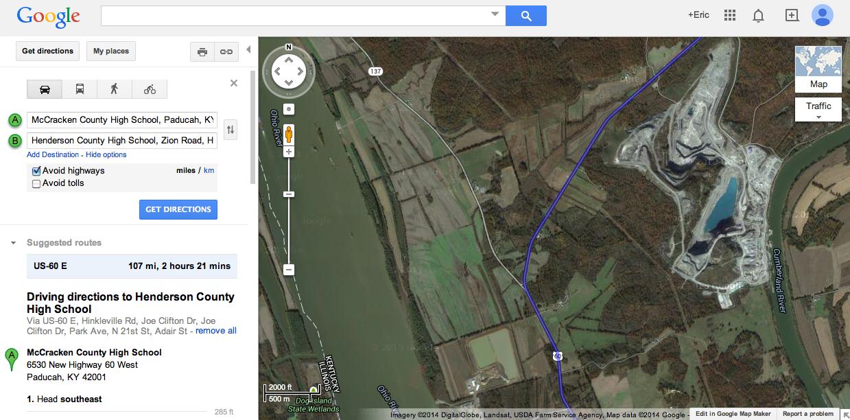 https://maps.google.com/maps?saddr=McCracken+County+High+School,+Paducah,+KY&daddr=Henderson+County+High+School,+Zion+Road,+Henderson,+KY&hl=en&sll=37.822293,-85.76824&sspn=4.841874,9.536133&geocode=FaaaNQIdhQS2-iG72JKswbfovylTwSpcKRp6iDG72JKswbfovw%3BFY42QQIdefHH-iFb0x1_uNTHrynbL1uktSlwiDFb0x1_uNTHrw&oq=henderson+county&t=h&dirflg=h&mra=ls&z=9