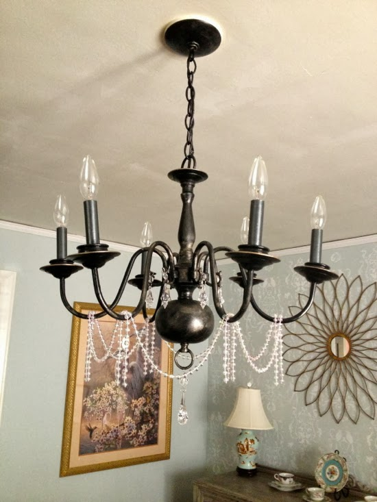 A chandelier redo finishes the dining room there have been quite a few changes in the last couple of months around my house the latest project to be completed is my dining room chandelier makeover aloadofball Images