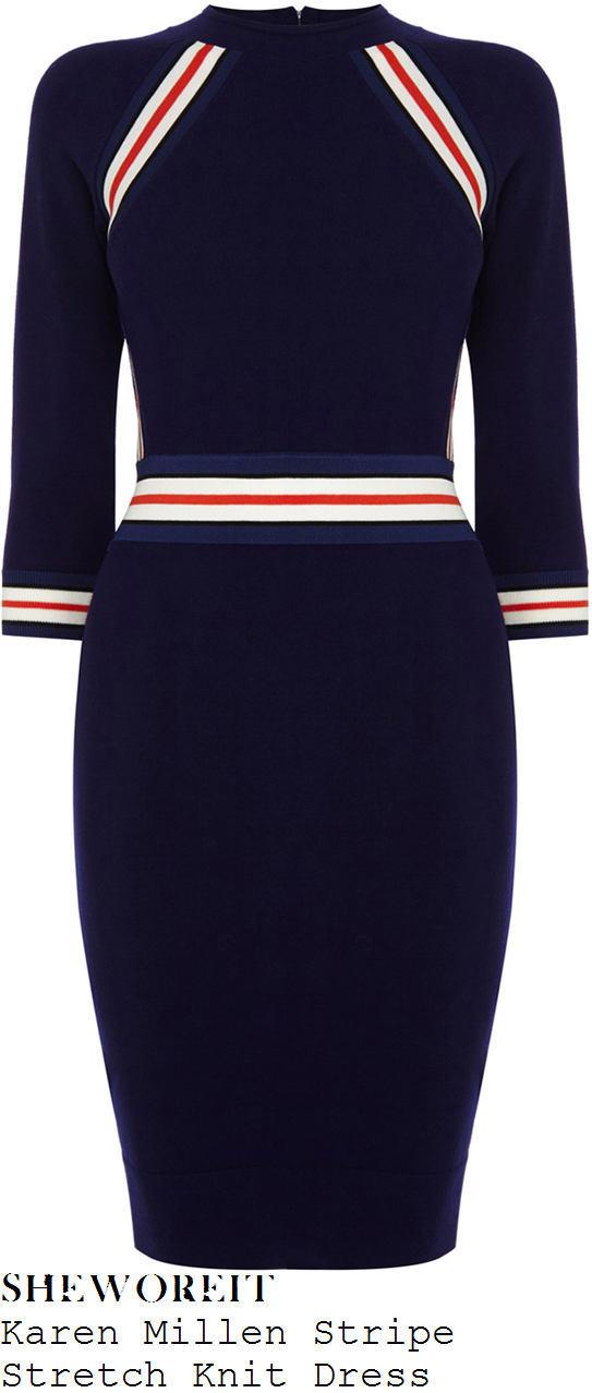 holly-willoughby-navy-blue-white-red-stripe-detail-three-quarter-sleeve-bodycon-knit-dress-this-morning