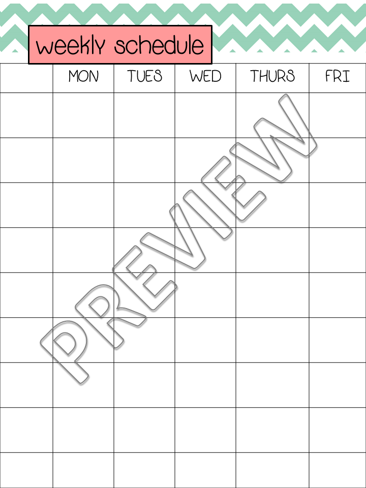 Weekly Schedule Template Monday Friday Slp student teaching binder