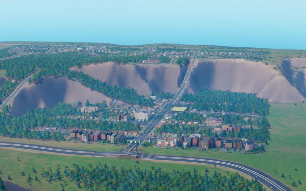 Удаленный вид на город в SimCity