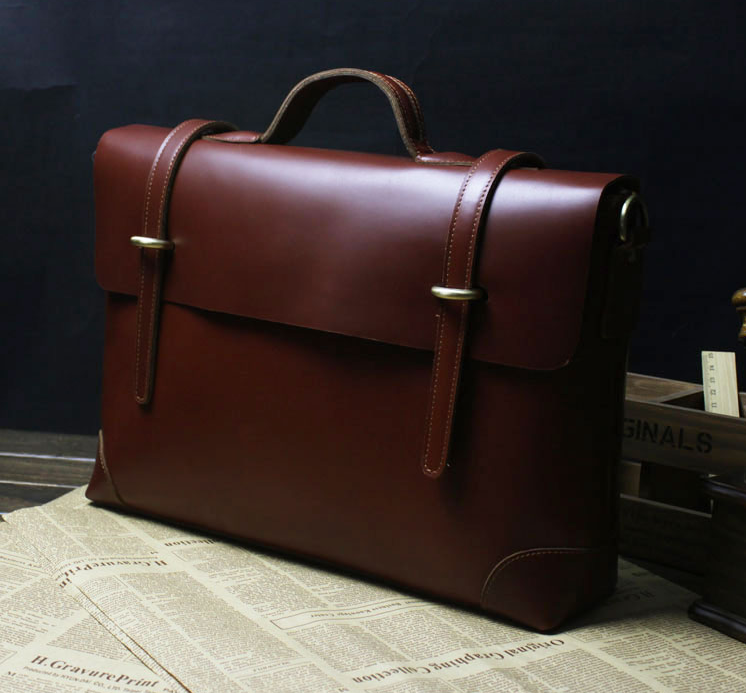 Top Choice: Exclusive Genuine Leather Brown Vintage Mens Briefcase Messenger Bag