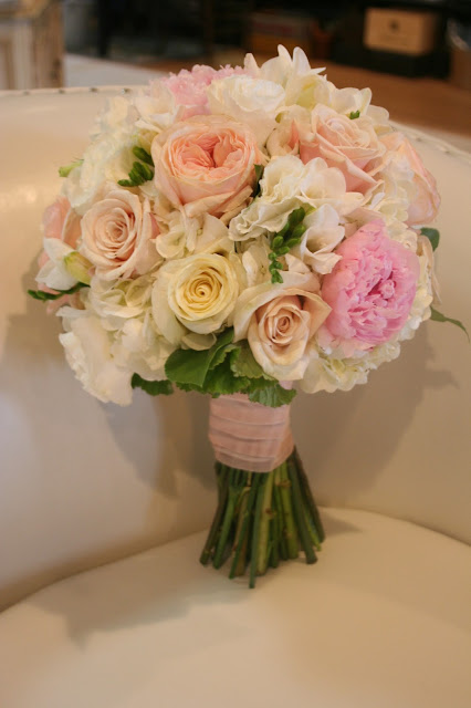 Isha Foss Events hydrangea, peony, garden rose bridal bouquet, Virginia Beach floral design