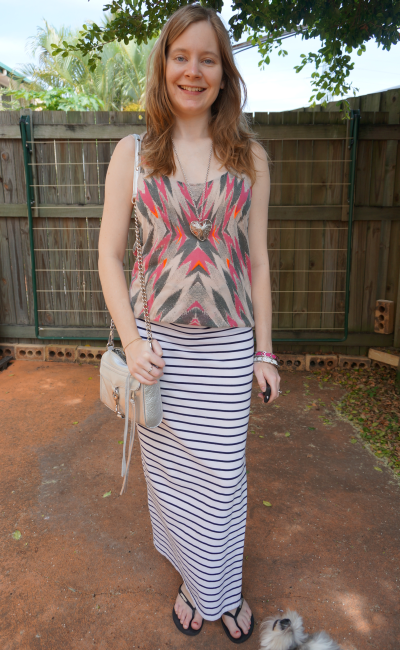 print mixing sass and bide tank stripe maxi skirt