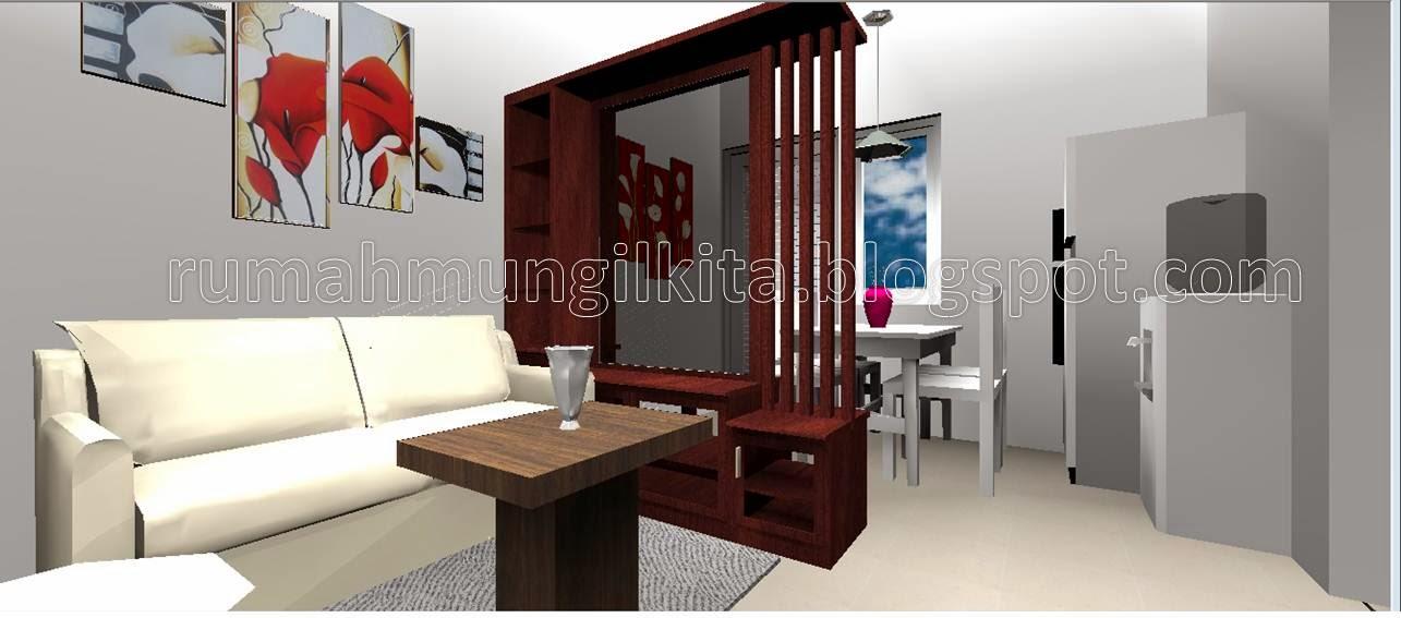 ruang tamu dengan partisi dua sisi