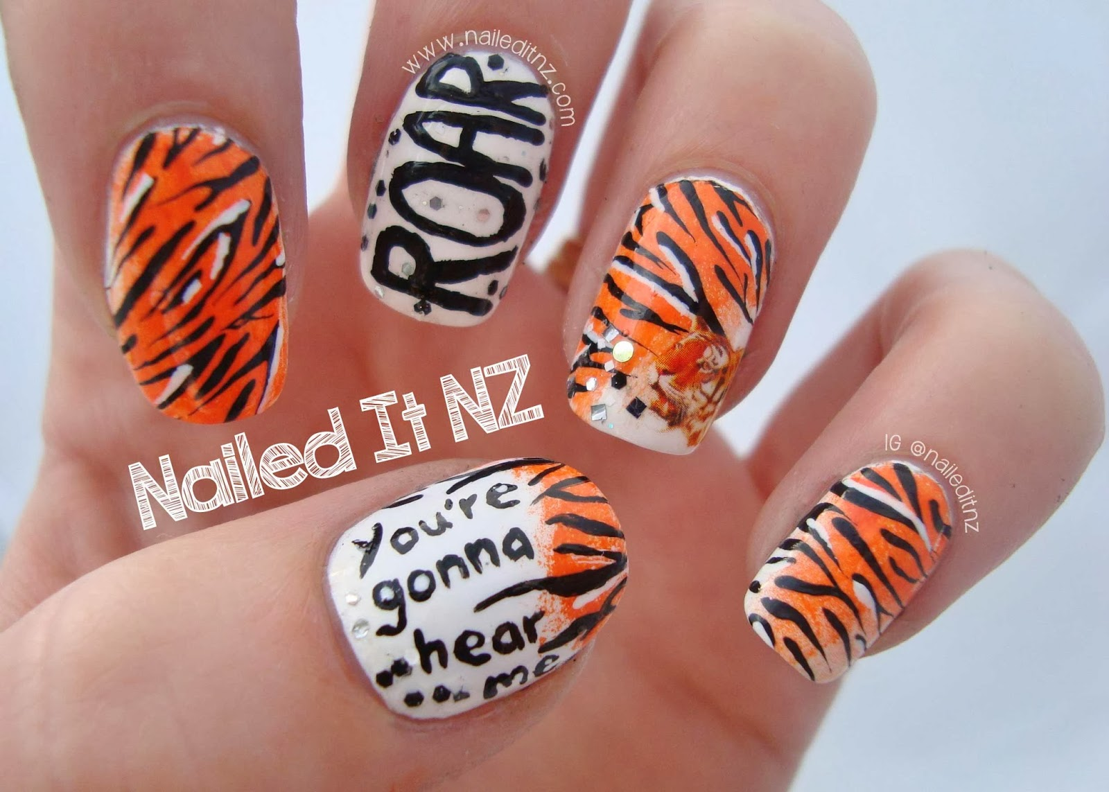 Katy perry nail art roar quite unique tiger stripe nails i normally avoid doing animal print these days ive done it too much in the past but this was a cool twist on it prinsesfo Image collections