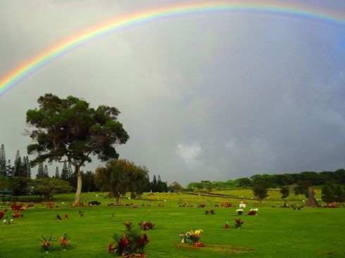 A rainbow over Mililani Cemetery.