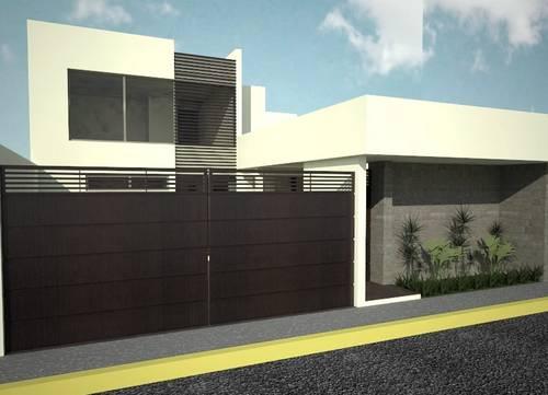 Fachadas minimalistas residencia estilo minimalista con for Casas con jardin pequeno al frente