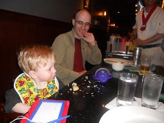 Garrett enjoying the Hibachi Teppanyaki