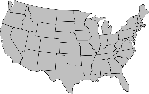 Blank printable map of usa in color grey. State lines are shown but not labelled.