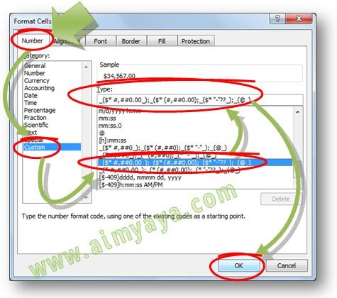 Gambar: Cara menampilkan mata uang rupiah (Rp) pada format currency (custom) di Microsoft Excel