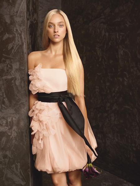Къса рокля за шаферки с пола балон на Вера Уанг - колекция пролет 2013 White by Vera Wang