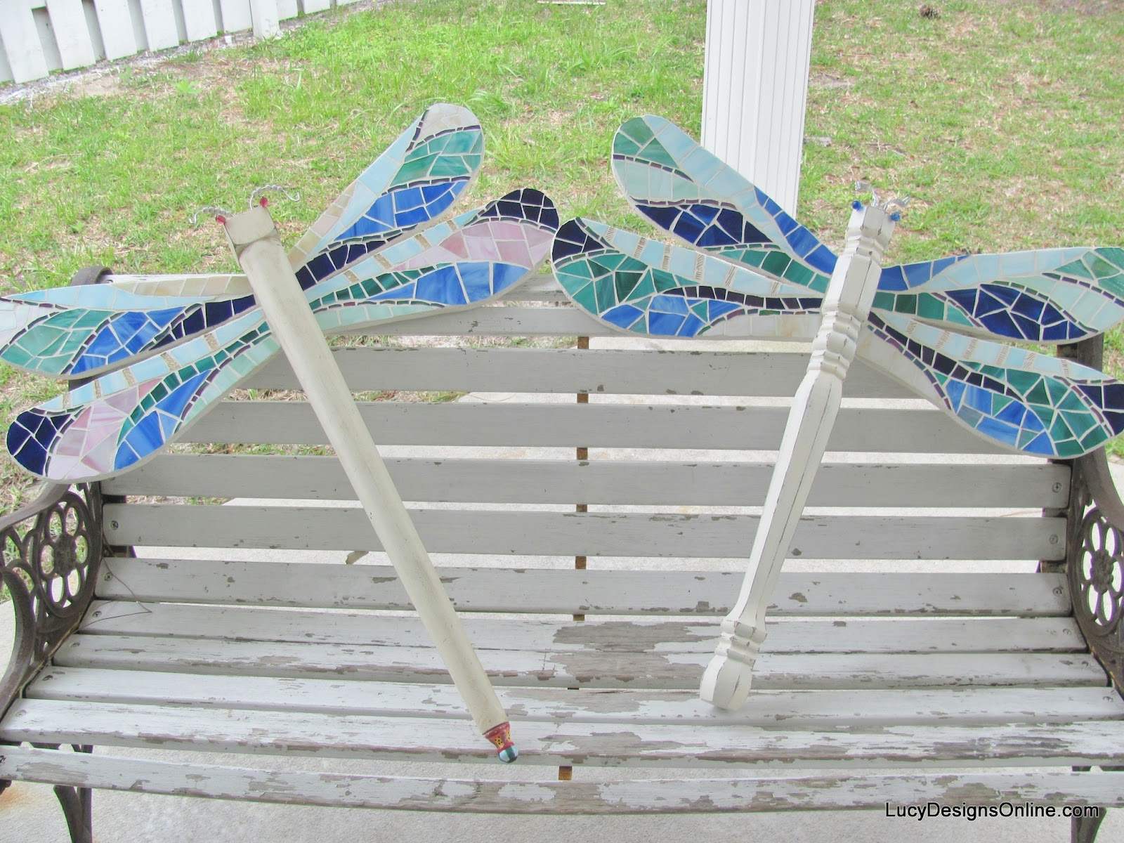table leg dragonfly art mosaic wings