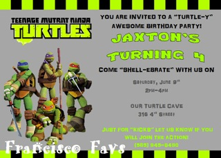 making life blissful turtle power guest post teenage mutant, Party invitations