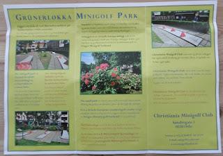 Promotional leaflet from the Grünerløkka Minigolf Park in Oslo, Norway