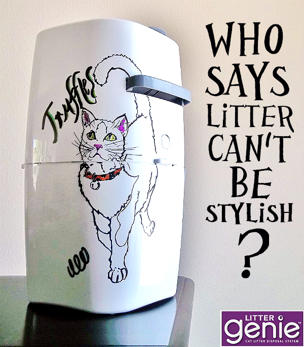 I decorated #MyLitterGenie to ad a little extra flair to our catbox corner. No more mess, no more stink, and extra stylish! #LitterGeniuses #Ad