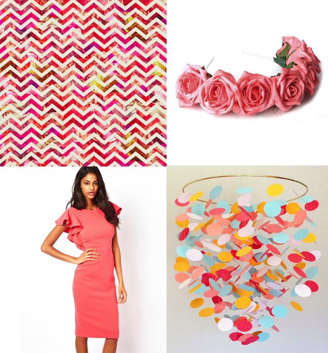 cardboardcities colour love - coral, pink things, 50's style dress, floral crown, chevron wallpaper, die cut mobile