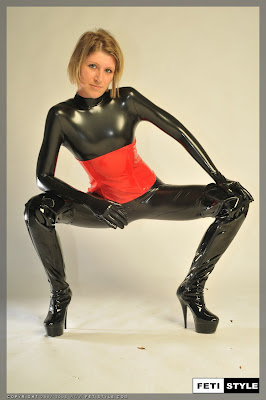 Delicious Sexy Blonde in Tight Shiny Latex