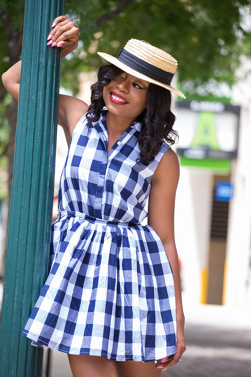sassy flare check print dress with gladiators