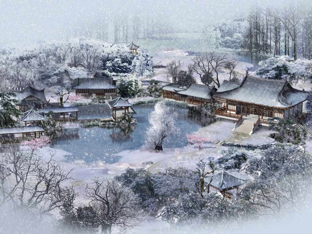 Naselje Ohaumi - Page 2 Japanese+Village+in+Winter+Wallpaper__yvt2