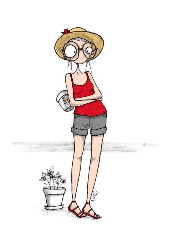 illustration, drawing, jardin, fleur, pâques, weekend, clemz