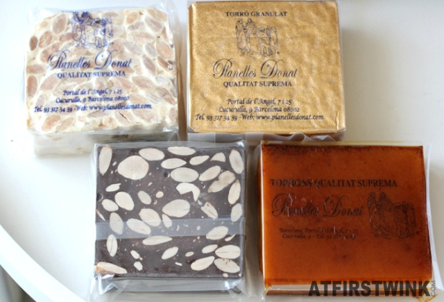 four pieces of nougat from Planelles Donat taken out of the box