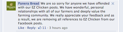 Panera comment on Facebook