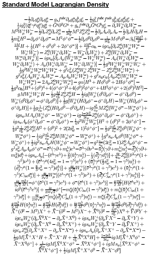 Standard Model Lagrangian Density Equation - Source: http://www.monkeywiththehat.com/2011/09/longest-equation-ever-known-to-man.html