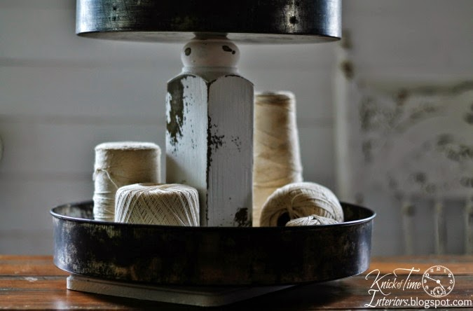 Repurposed Cake Pans Tiered Stand via http://knickoftimeinteriors.blogspot.com/
