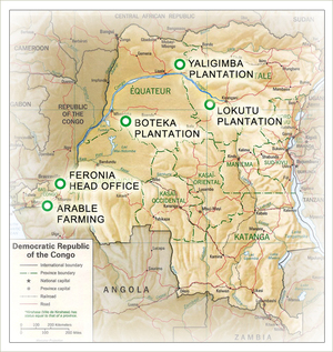 Map showing location of Ferona plantations in DRC.  (Feronia)