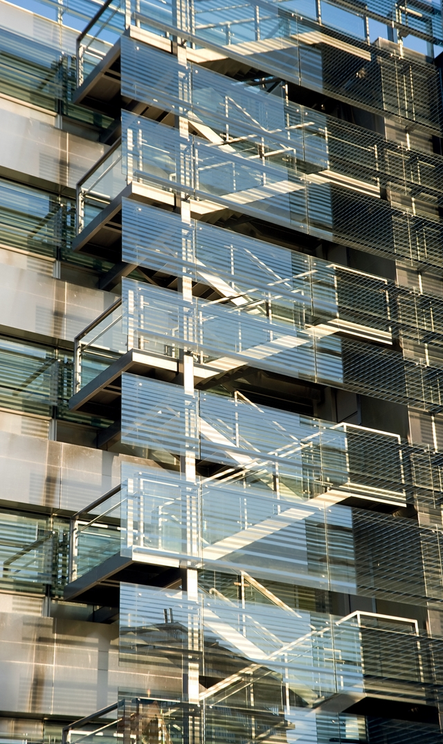 Glass facade on modern building