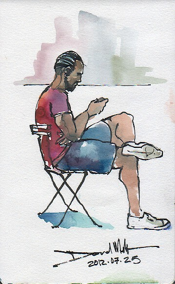 A sketch of a man with his Smart-Phone by David Meldrum