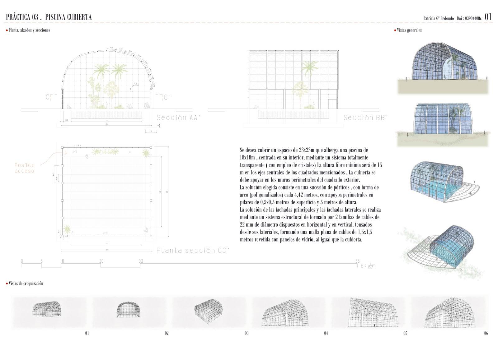 Proyecto de estructuras iii the tightrope walker for Piscina cubierta alcantarilla