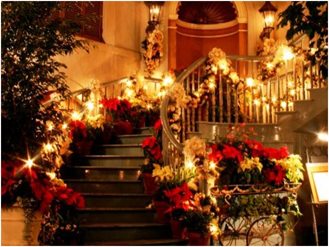Staircases decoration on Christmas