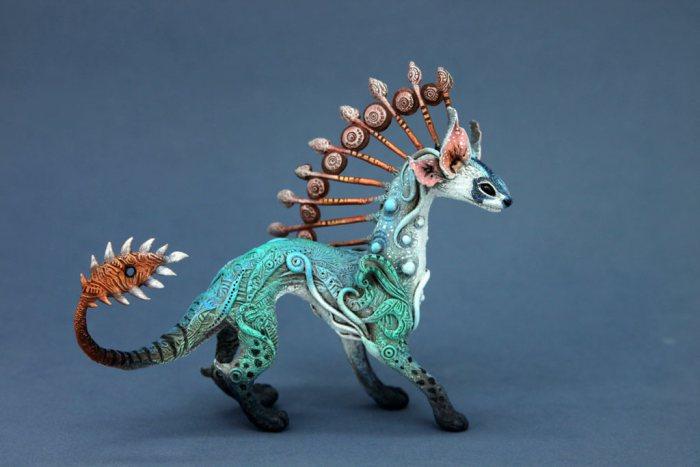 Fantasy Animal Sculpture Made Of Velvet Clay Art
