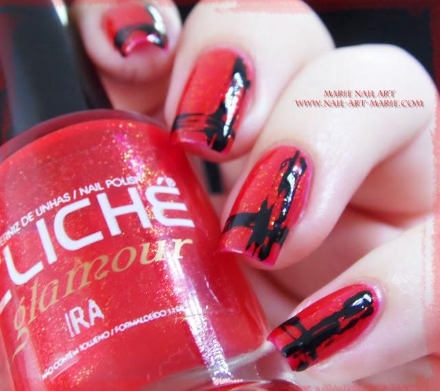 Nail Art Abstrait Rouge et Noir Facile8