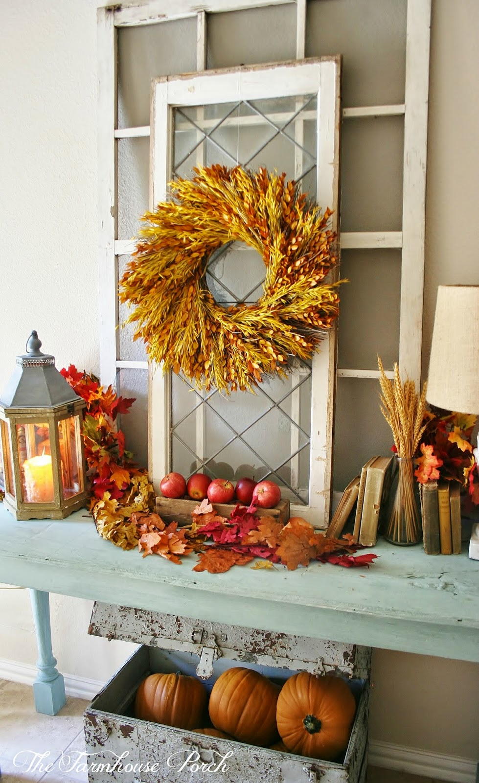The farmhouse porch for Fall decorations for the home