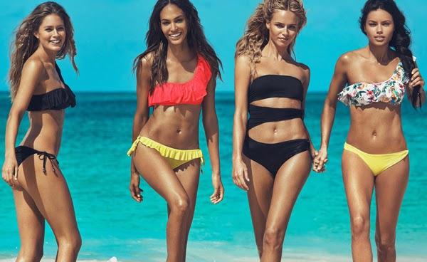H&M mujer verano traje de baño asimétrico y bikinis con volantes de un solo hombro