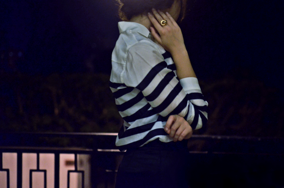 theserialshopper's outfit details, aldo gold ring and massimo dutti striped silk shirt