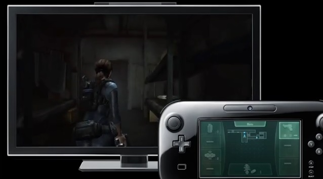 Wii U version of Resident Evil Revelations with map on touchscreen of Wii U GamePad