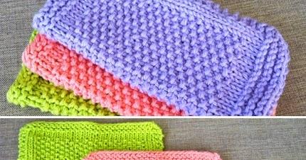 We Like Knitting: Seed Stitch Dishcloth Pattern